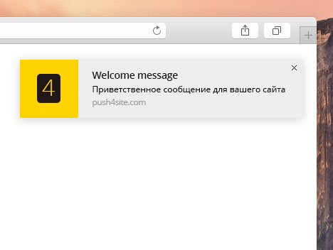 Welcome message, a new feature of the browser push service push4site.